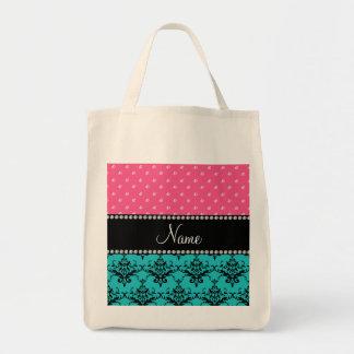 Personalized name turquoise damask pink diamonds bag