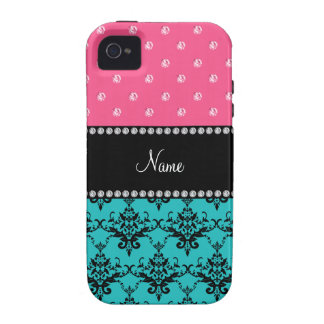 Personalized name turquoise damask pink diamonds iPhone 4 case