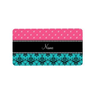 Personalized name turquoise damask pink diamonds custom address label