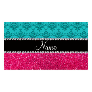 Personalized name turquoise damask pink glitter business card template
