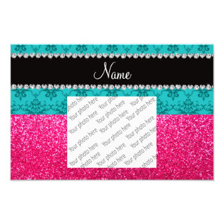 Personalized name turquoise damask pink glitter photograph