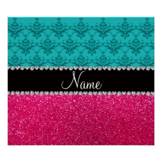 Personalized name turquoise damask pink glitter print