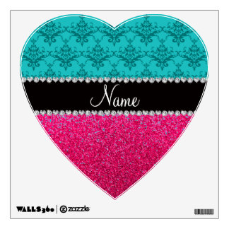 Personalized name turquoise damask pink glitter room decal