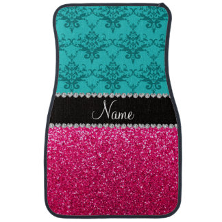 Personalized name turquoise damask pink glitter floor mat