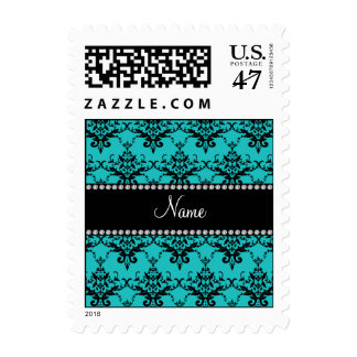 Personalized name turquoise damask postage stamp
