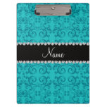 Personalized name turquoise damask swirls clipboard