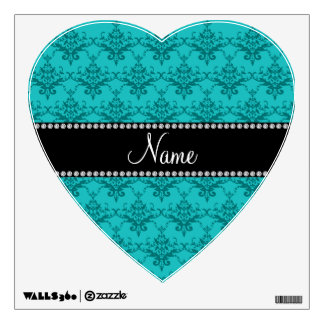 Personalized name Turquoise damask Wall Graphic