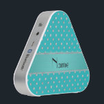 """Personalized name turquoise diamonds bluetooth speaker<br><div class=""""desc"""">Chic, girly, trendy and modern personalized name turquoise diamonds sparkles background (not real diamonds) polka dots pattern with beautiful turquoise stripe personalized with just add your name gifts or monogram gifts or your initials for a unique gift. Ideal for weddings and much more featuring an elegant and traditional fancy lettering....</div>"""