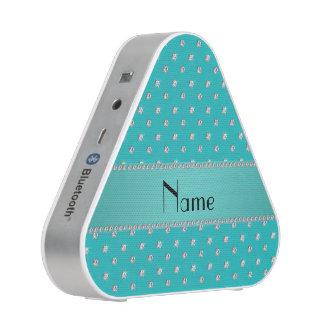 Personalized name turquoise diamonds bluetooth speaker