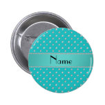 Personalized name turquoise diamonds pinback buttons