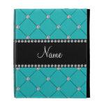Personalized name Turquoise diamonds iPad Folio Cases
