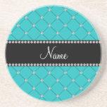 Personalized name Turquoise diamonds Beverage Coasters