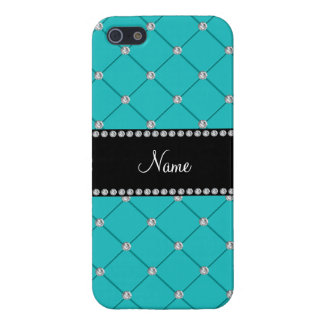 Personalized name Turquoise diamonds Cover For iPhone 5