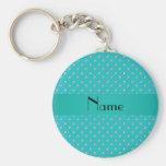 Personalized name turquoise diamonds key chain
