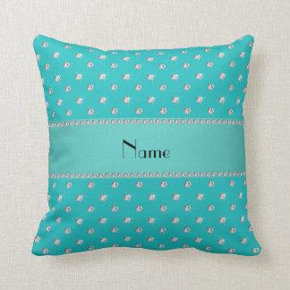 Personalized name turquoise diamonds pillow
