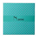 Personalized name turquoise diamonds tile