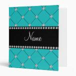 Personalized name Turquoise diamonds Vinyl Binder