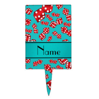 Personalized name turquoise dice pattern cake topper
