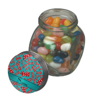 Personalized name turquoise dice pattern glass jars