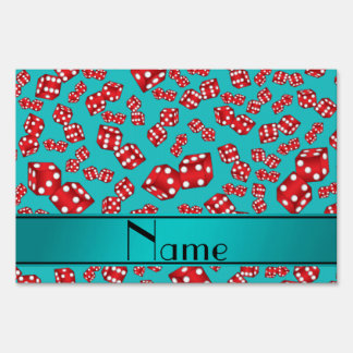 Personalized name turquoise dice pattern lawn sign
