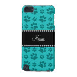 Personalized name turquoise dog paw prints iPod touch (5th generation) case