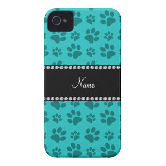Personalized name turquoise dog paw prints blackberry bold cases