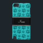 "Personalized name turquoise dog paw prints iPod touch 5G cover<br><div class=""desc"">Personalized custom name turquoise/teal/aqua dog paw print pattern (animal print) with a black diamonds stripe (not real diamonds) personalized with your name gifts or monogram gifts or your initials. Cute gifts for dog lovers.</div>"
