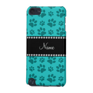 Personalized name turquoise dog paw prints iPod touch 5G cover