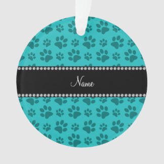 Personalized name turquoise dog paw prints ornament