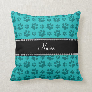 Personalized name turquoise dog paw prints throw pillow