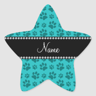 Personalized name turquoise dog paw prints star stickers