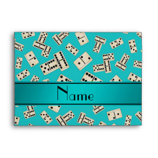Personalized name turquoise dominos envelope
