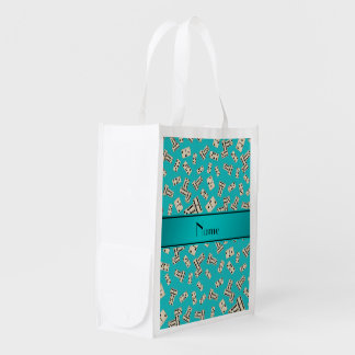 Personalized name turquoise dominos market tote