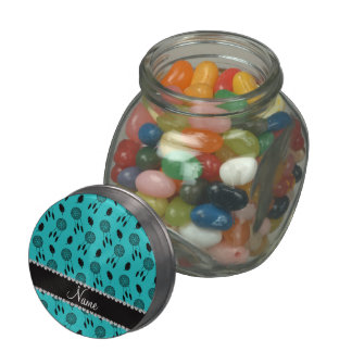 Personalized name turquoise dreamcatchers jelly belly candy jar