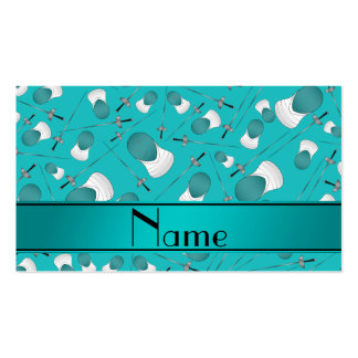 Personalized name turquoise fencing pattern Double-Sided standard business cards (Pack of 100)