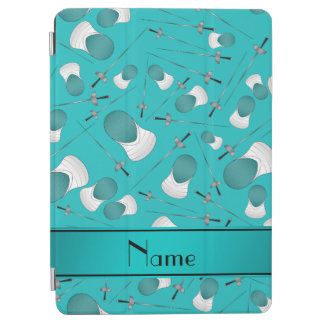 Personalized name turquoise fencing pattern iPad air cover