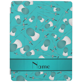 Personalized name turquoise fencing pattern iPad cover