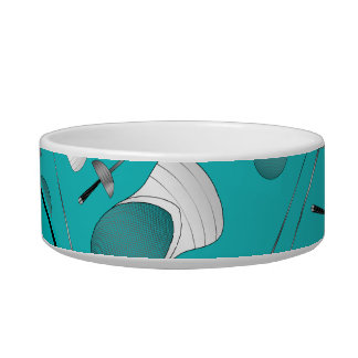 Personalized name turquoise fencing pattern pet food bowl