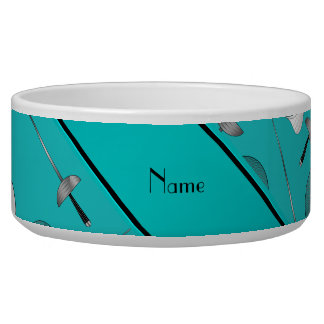 Personalized name turquoise fencing pattern pet bowl