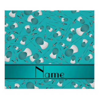Personalized name turquoise fencing pattern poster