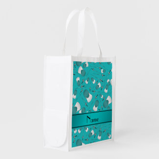 Personalized name turquoise fencing pattern market tote