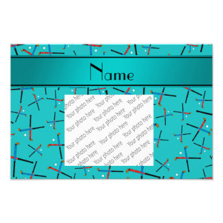 Personalized name turquoise field hockey photo print