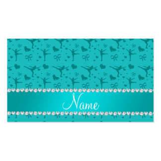Personalized name turquoise figure skating business cards