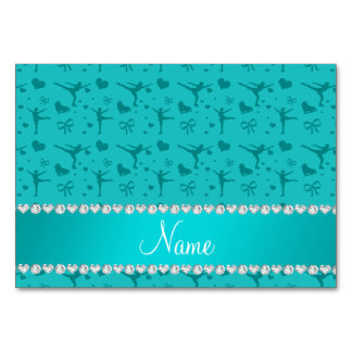 Personalized name turquoise figure skating card