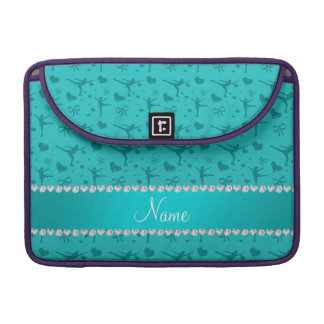 Personalized name turquoise figure skating sleeve for MacBooks