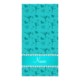 Personalized name turquoise figure skating photo card