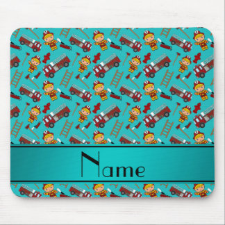 Personalized name turquoise firemen trucks ladders mouse pad