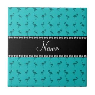 Personalized name turquoise flamingos tiles