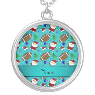 Personalized name turquoise football christmas pendant