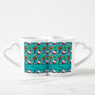 Personalized name turquoise football christmas couples' coffee mug set